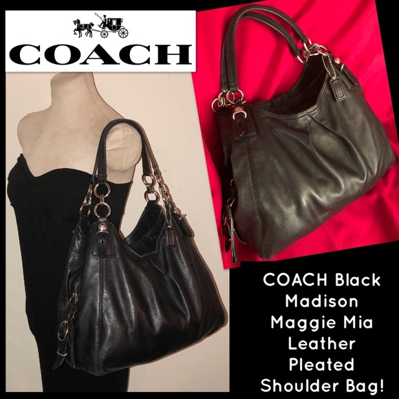 8513d49d801f6 Coach Handbags - COACH Black Madison Maggie Mia Leather Hobo Bag!